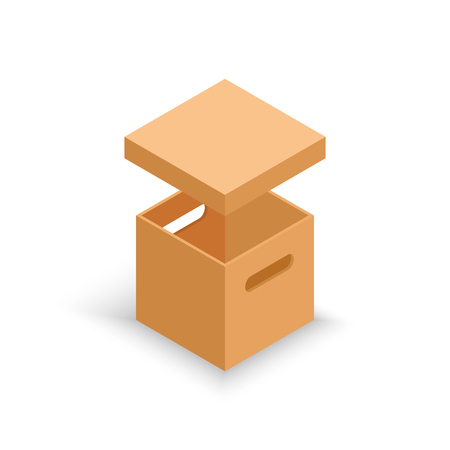 Isometric open cardboard box isolated on white.