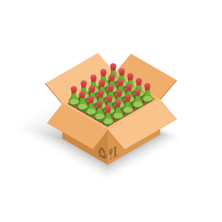 Wine bottles cardboard box vector illustration, 3d isometric cartoon wine beverage pack isolated Stock Photo