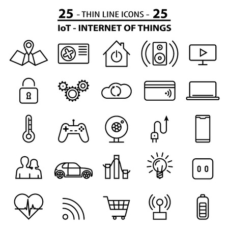Set of 25 thin line icons about internet of things (IOT) technology.