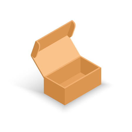Vector isometric opened cardboard box. Delivery and packaging. Transportation, shipping.