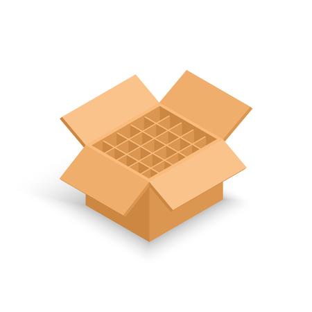 Opened cardboard box without bottle. Vector isometric illustration