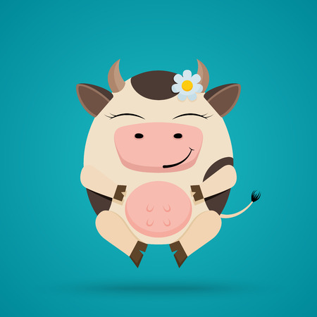 Vector cartoon illustration of funny egg shaped smiling cow Stock Photo
