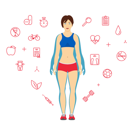 Woman Body Transformation Concept. Girl before and after diet or weight loss. Fitness design template. Set of sport and health line icons in background.