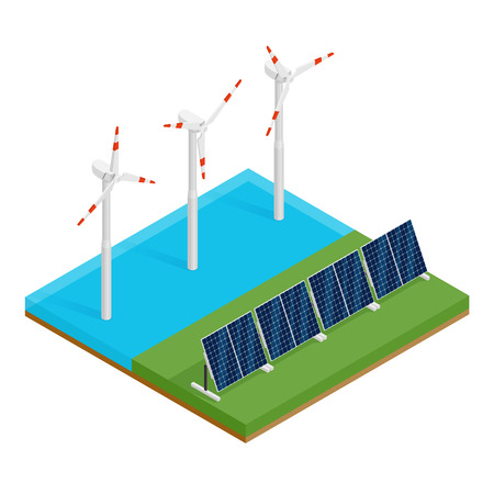 Isometric plant solar panels and offshore wind turbines. Eco renewable electric energy concept.