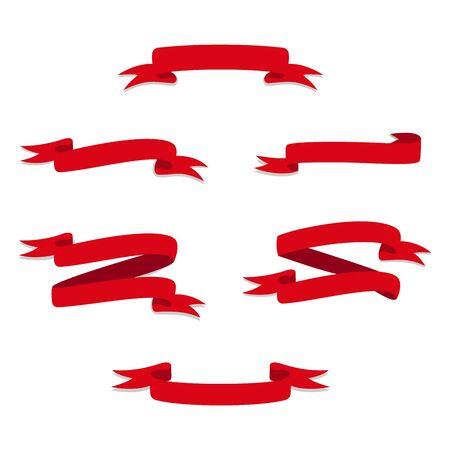 Vector Red Web Ribbons Set Illustration