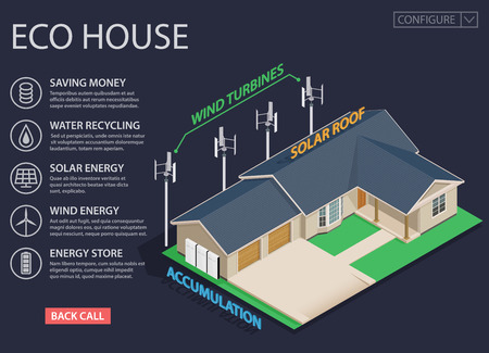 Green energy and eco friendly modern house on dark background. Solar and wind power. 3d isometric vector illustration.