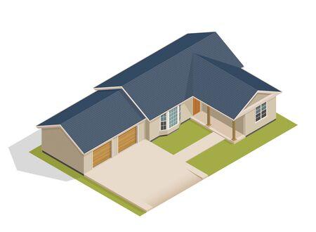 Vector isometric suburban house Stock Illustratie