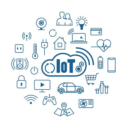 Cloud IOT Internet of Things - vector concept and symbol Ilustração