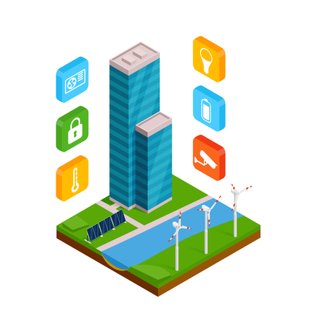 Isometric smart building with outline colors icons on smart phone.