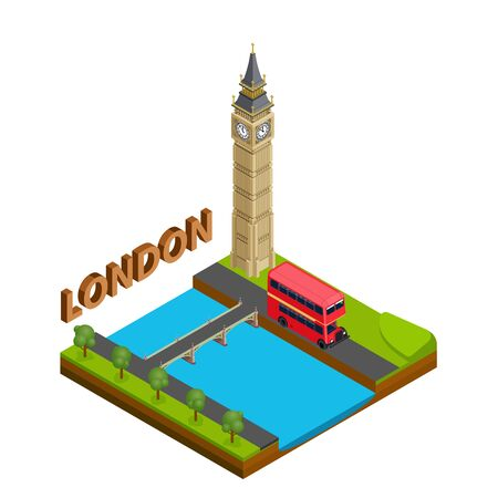 London city famous landmark of capital england symbol Britain travel business concept. Isometric view.