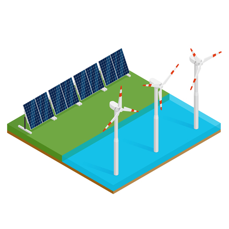 Isometric plant solar panels and offshore wind turbines. Eco renewable electric energy concept. Vector illustration. Çizim