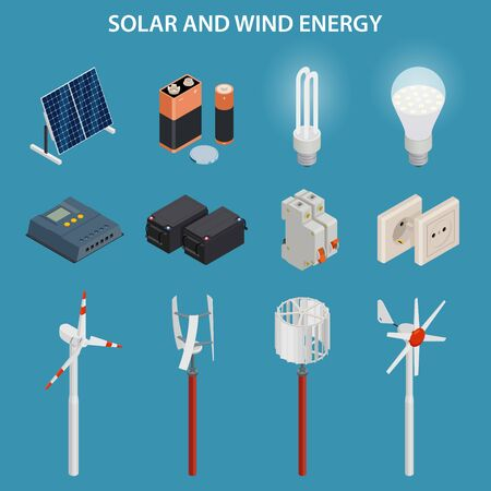 Solar and wind energy generation. Electrical equipment. Vector set.