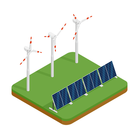 Isometric plant solar panels and wind generators. Eco renewable electric energy. Illustration