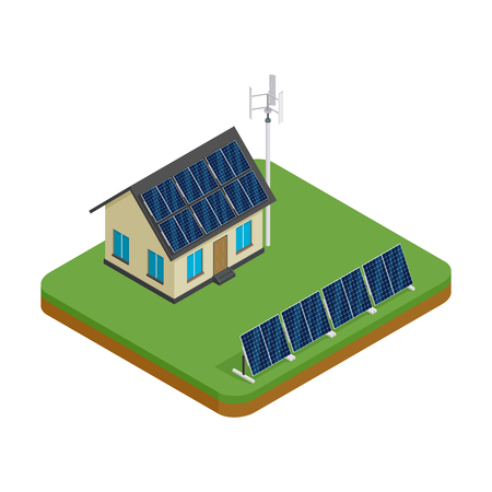Isometric eco friendly house with wind turbine and solar panels. Green energy concept vector illustration