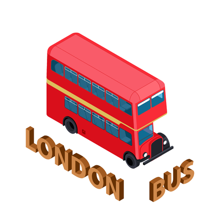 Isometric Highly detailed Red Bus isolated double decker London UK England vehicle. Can be used for workflow layout, game, diagram, number options, web design and infographics Çizim