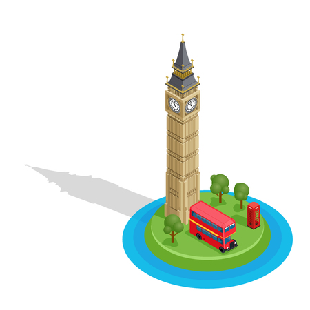 London. Set of detailed isometric vector. Big Ben, double decker bus and red kiosk. Famous landmarks. Çizim