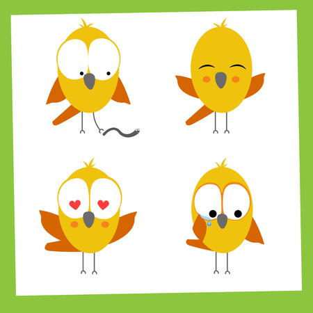 Vector funny small birds icon set. Vector illustration