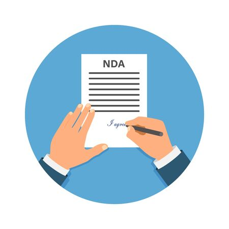 Colored Cartooned Hand Signing NDA. Contract Signed document. NDA concept. Secret files. Banco de Imagens