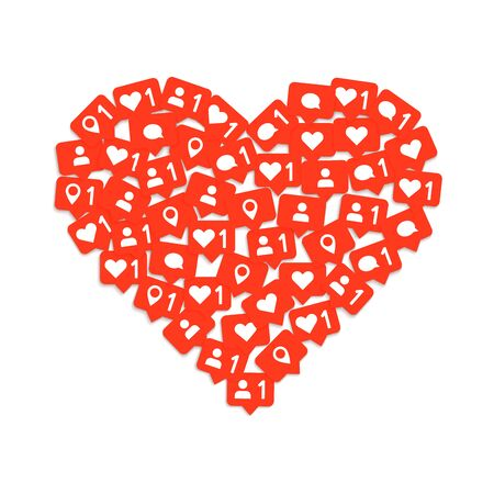 Heart shape media composition with like, comment and subscription. Social media like.