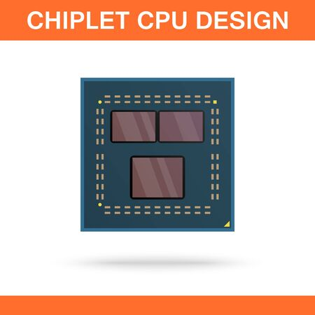 Realistic modern chiplet CPU design front view. Powerful multithreaded CPU. Ilustração