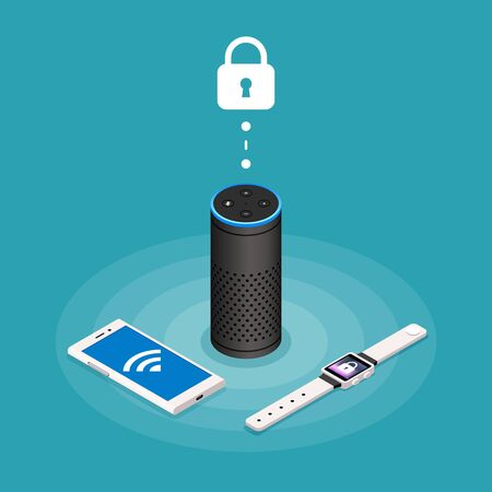 Security Internet of things isometric composition on turquoise background with assistant speaker, smartphone and watch vector illustration