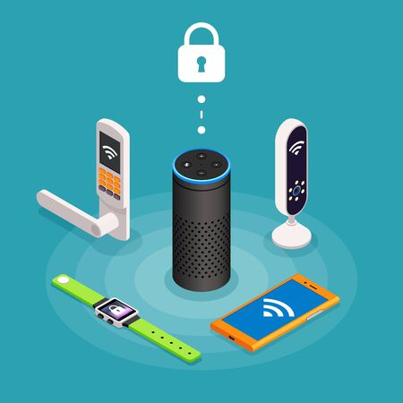Security Internet of things isometric composition on turquoise background with wireless door lock assistant speaker, smartphone, watch and tracker vector illustration.