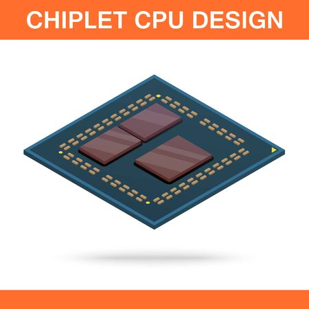 Realistic isometric modern chiplet CPU design front view. Ilustração