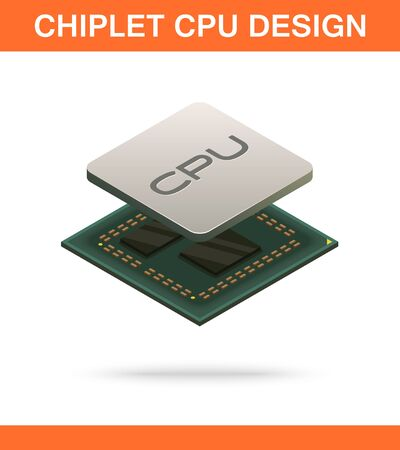 Realistic isometric modern chiplet CPU design front view. 向量圖像