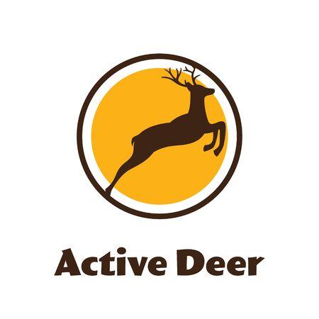 Active Deer - black vector silhouette of Reindeer with antlers - Vector logo