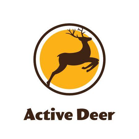 Active Deer - black vector silhouette of Reindeer with antlers - logo.