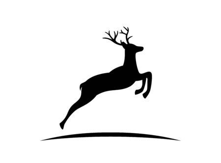 Black vector silhouette of Reindeer with antlers isolated on white background.