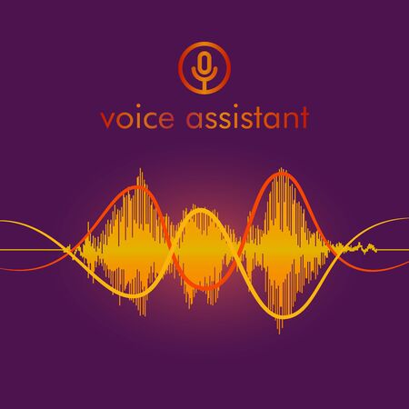 Microphone button with bright voice and sound imitation waves. Communication Ilustração