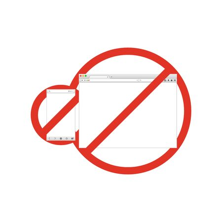 Mobile and desktop browser windows in prohibition sign. Browser banned. Prohibited ban stop symbol. Stock Illustratie