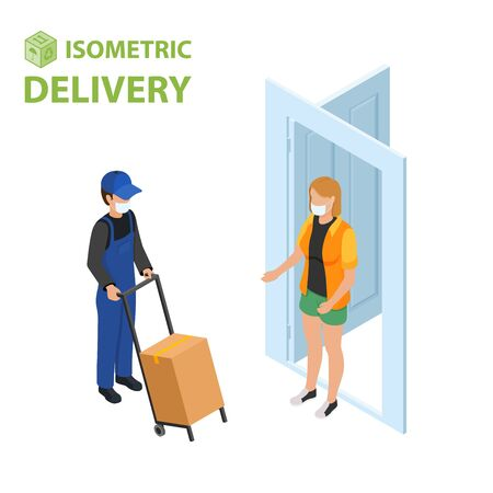 Fast delivery flat isometric vector concept. The Courier stays with the parcel near the door and gives the parcel to the customer. isometric illustration. Ilustração