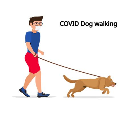 Man in white medical protective mask and medical gloves, walking with their dog. Coronavirus quarantine vector illustration.