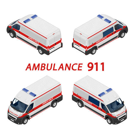 Transport isometric set Ambulance van isolated vector illustration. Emergency medical evacuation accident. Accident Ambulance Aid Service Clinic Emergency Department for Infographics, banner, web Ilustração