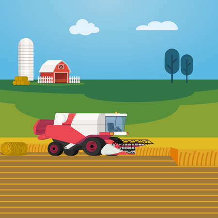 Vector illustration on farming and agriculture with combine harvester harvesting grain crops. Arable field scenery with heavy machinery, red barn and green fields on background
