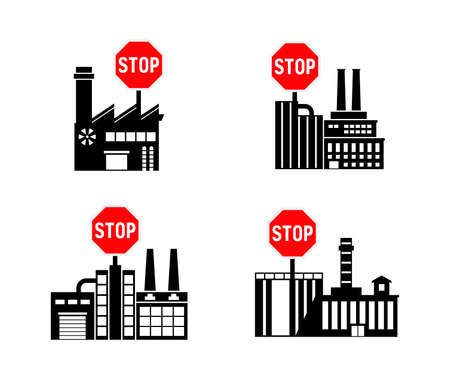 Lockdown forbidden factory vector icon. Prohibited Warning, caution, attention, restriction label danger. actory flat sign design. Factory symbol pictogram. Ilustração