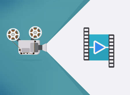 Cinema movie Thanks for watching slide. Movie presentation with film projector. Can use for web banner, infographics, hero images. Flat vector illustration isolated on generic background.