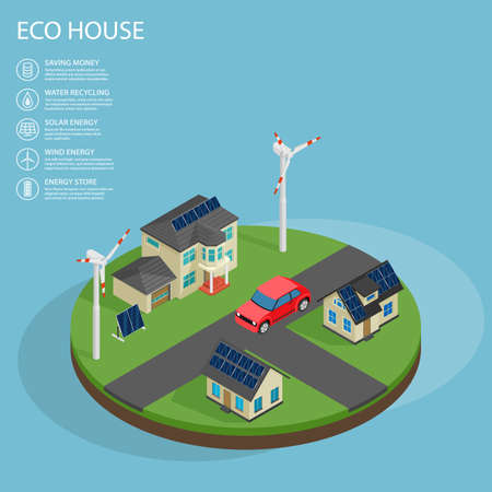 Modern green eco house with garage lawn solar panels producing electricity on roof and two wind turbines isometric illustration
