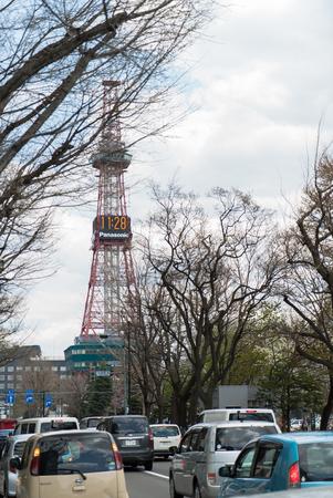 odori: sapporo hokkaido japan , sapporo TV tower , odori park, april Editorial