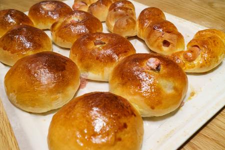 homemade sweet buns (bean-jam bun) Stock Photo