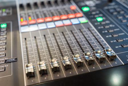 digital sound mixer controller. closeup view.
