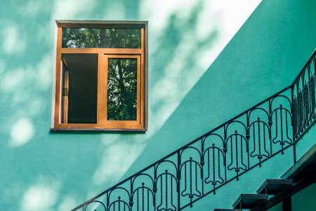 fasade of a house window and metal ladder