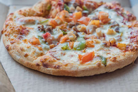closeup of Pizza in a cardboard box , pizza delivery