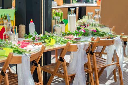 spring decoration workshop. Making flower bouquets and arrangements