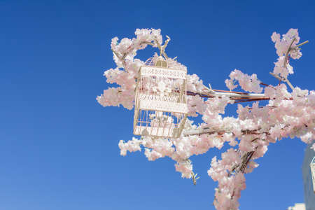 White decorative bird cage hanging on branch of blooming apple tree on sky background. Spring city decoration Foto de archivo