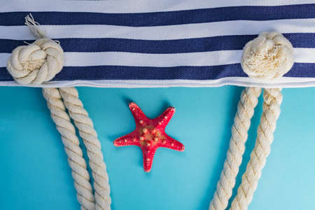Sea shells, starfish and textile stiped navy bag with rope knots on light blue background. summer holiday and vacation concept