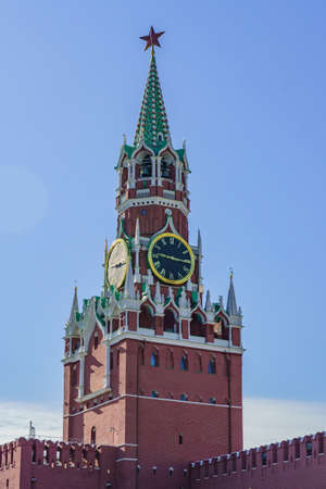 Spasskaya tower of the Kremlin on the Red Square in Moscow