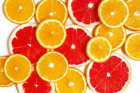 citrus slice, oranges and grapefruits on white background. Fruits backdrop Stock Photo